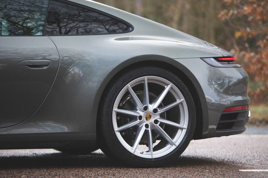 Porsche 911 Carrera 2019 UK first drive review - rear wheels