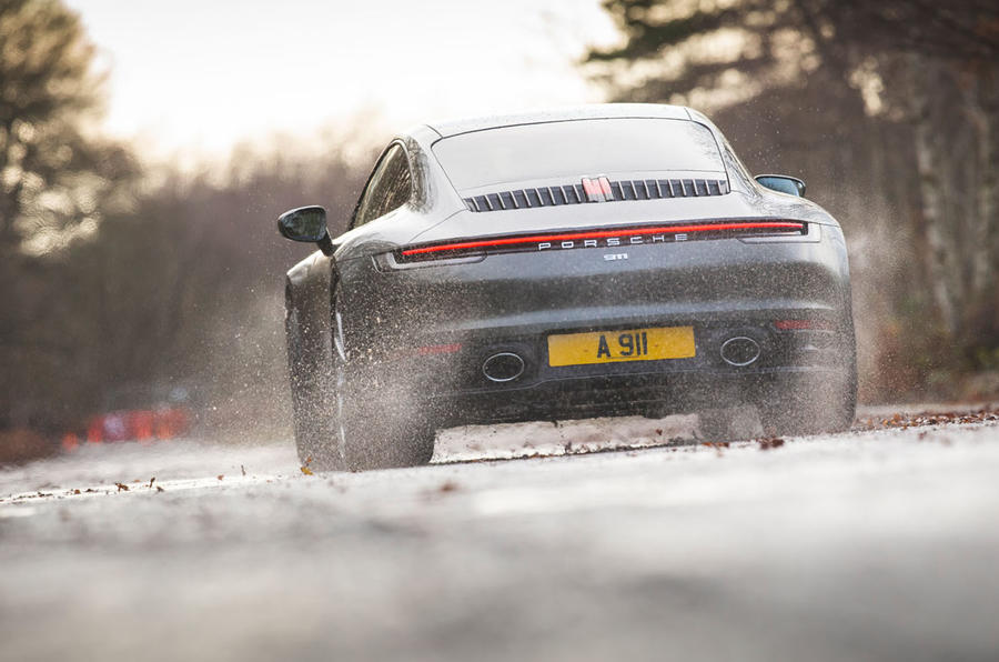 Porsche 911 Carrera 2019 UK first drive review - on the road rear