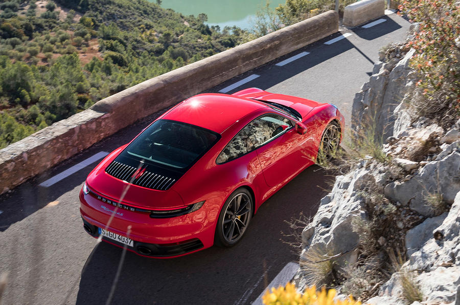 Porsche 911 Carrera 4S 2019 review - arial rear right