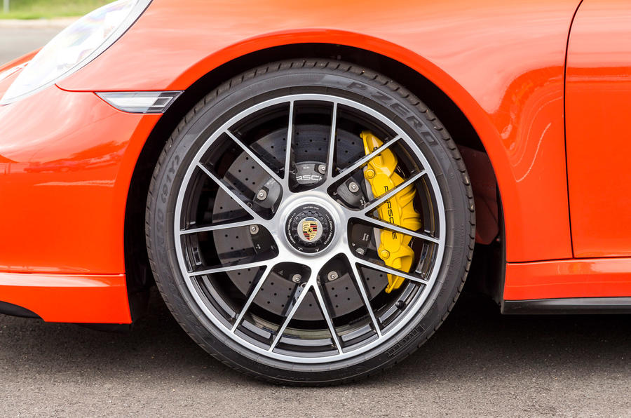 Yellow Porsche 911 Turbo S brake calipers