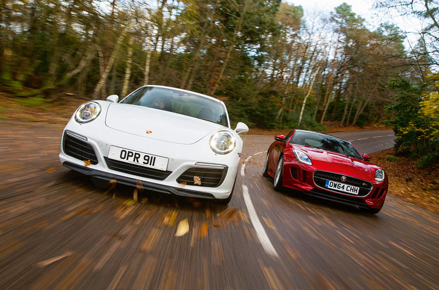 Porsche 911 Carrera S and Jaguar F-Type R