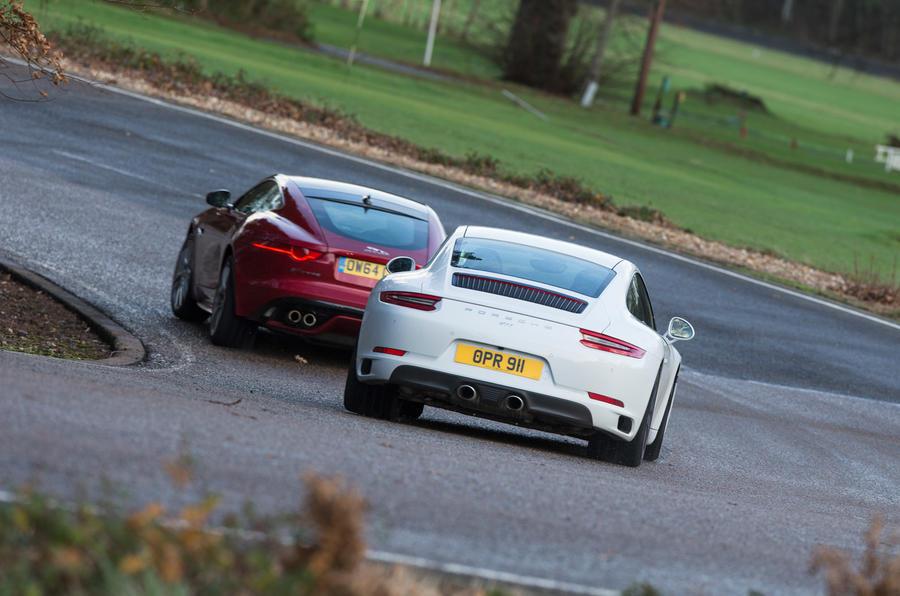 Porsche 911 Carrera S and Jaguar F-Type R