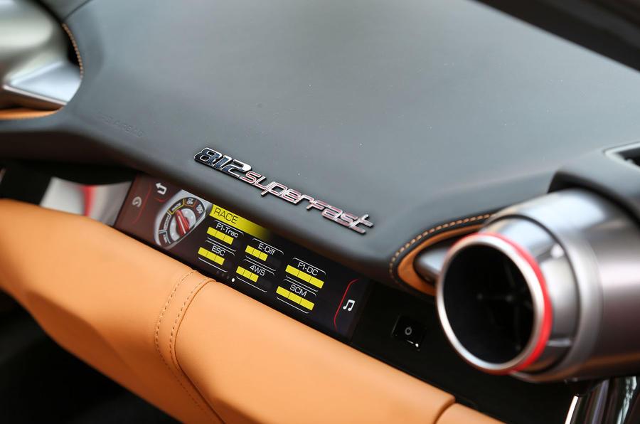 Ferrari 812 Superfast passenger digital info display