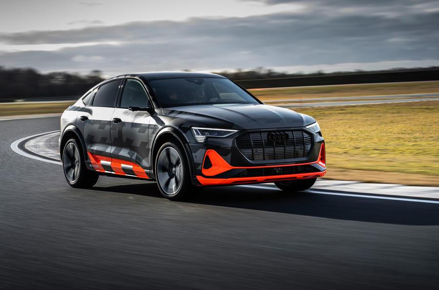 Audi E-tron S Sportback prototype drive - on track front