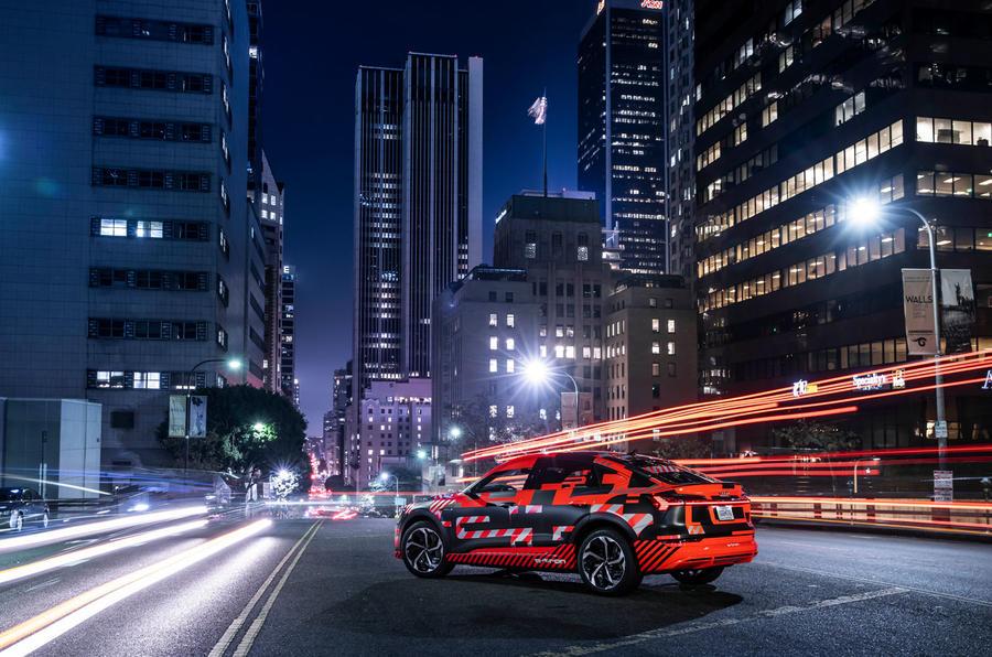 Audi E-tron Sportback prototype matrix headlights - static rear