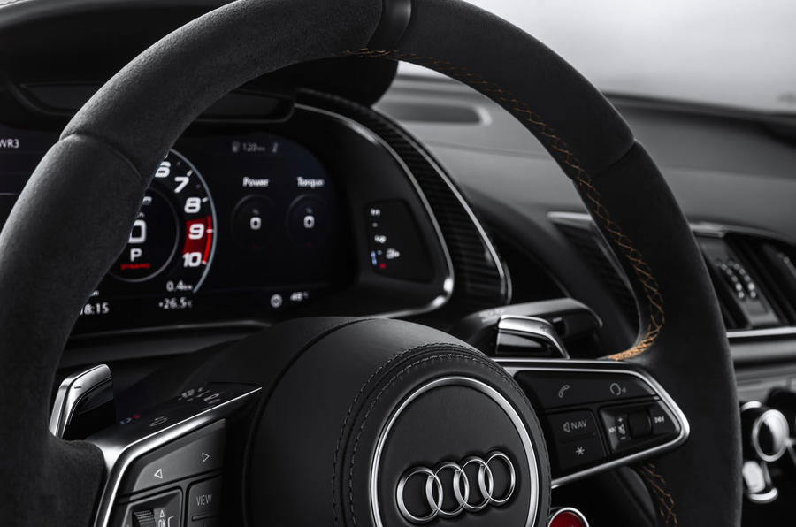 Audi R8 V10 Decennium official press images - steering wheel