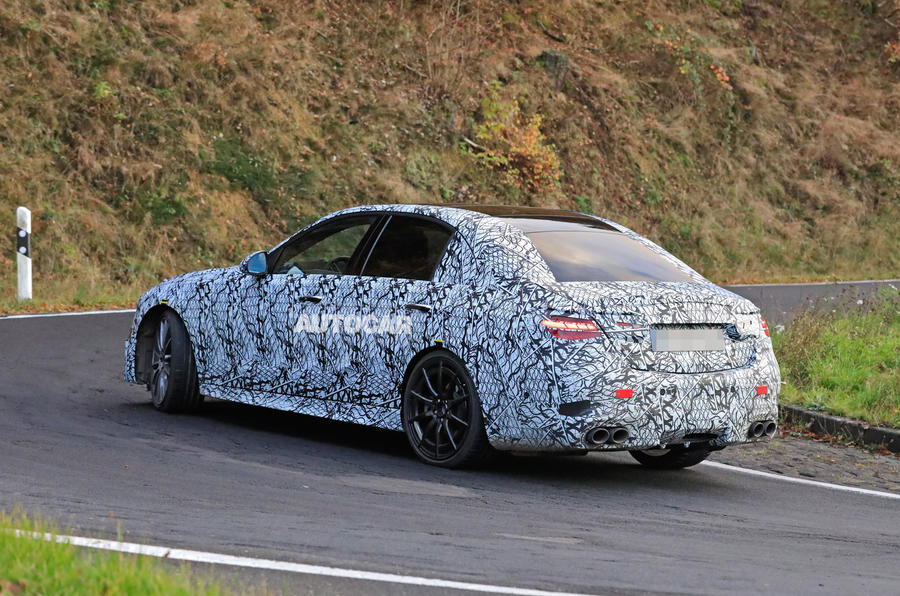 Mercedes-AMG C53 2021 spy images - on the road rear end