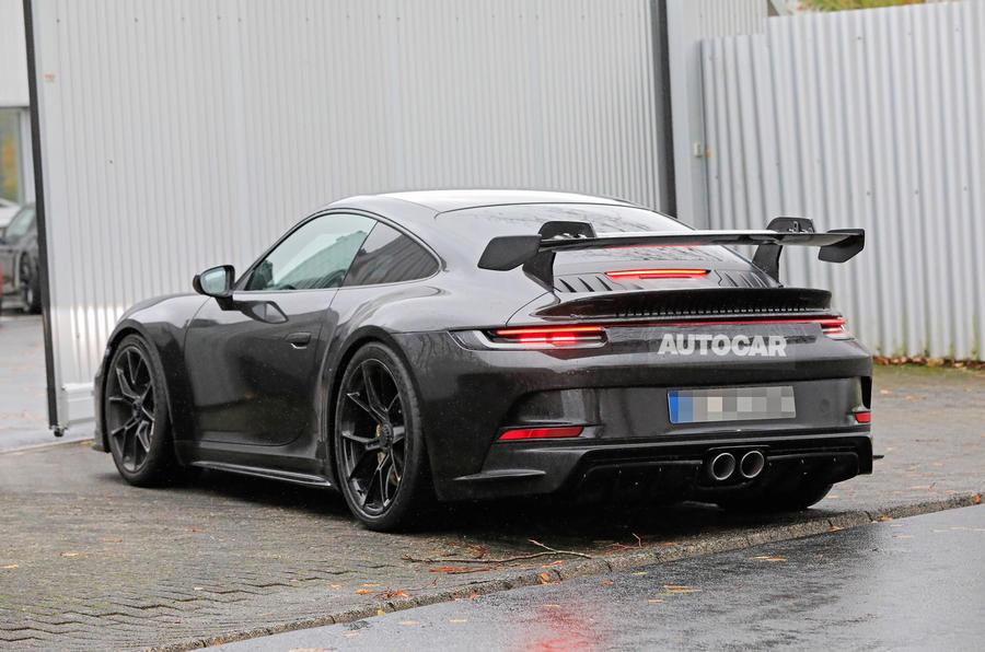Porsche 911 GT3 prototype at Nurburgring - road rear