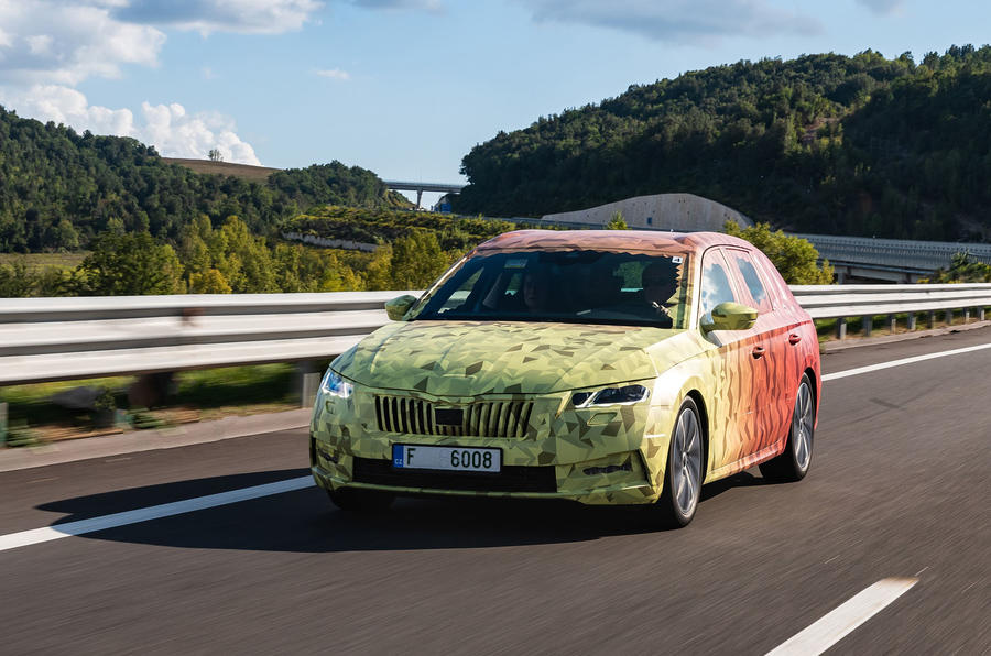 2020 Skoda Octavia prototype camouflaged drive - on the road nose