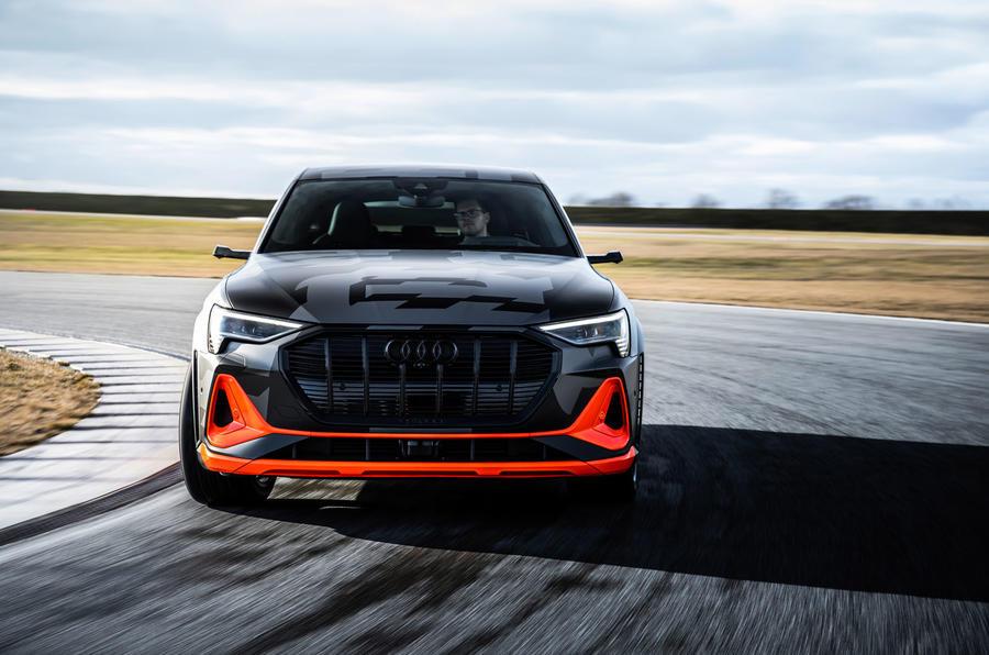 Audi E-tron S Sportback prototype drive - on track nose