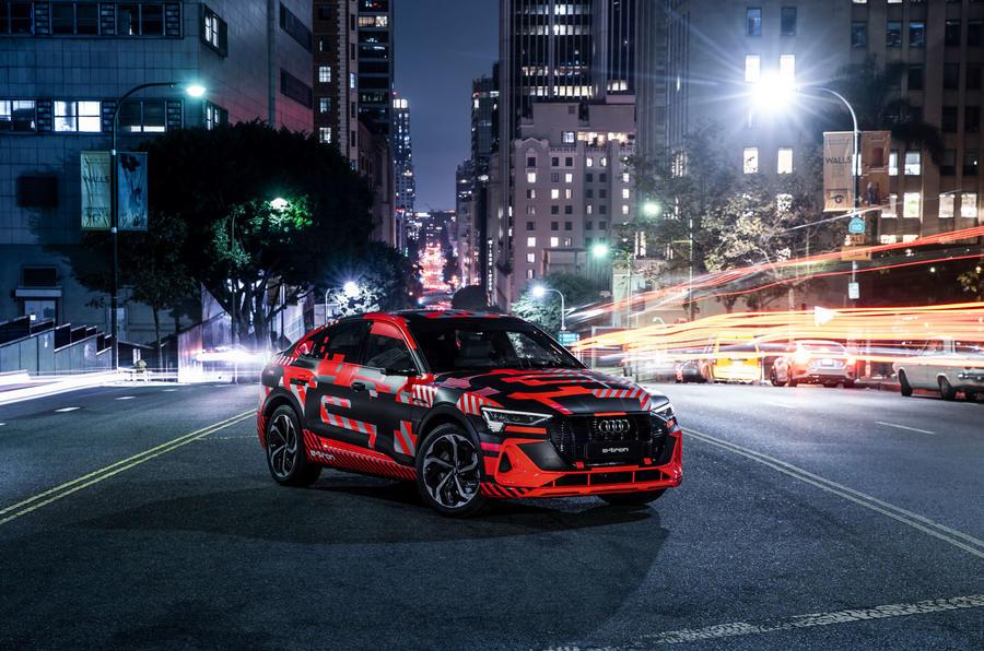 Audi E-tron Sportback prototype matrix headlights - static front