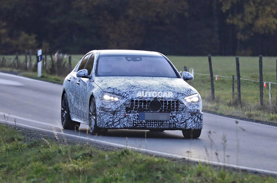 Mercedes-AMG C53 2021 spy images - on the road nose