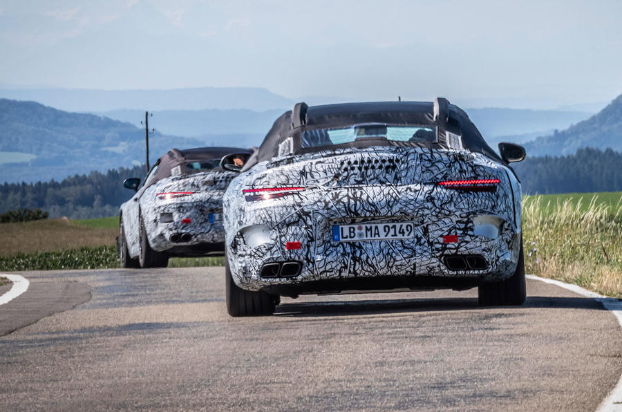 2021 Mercedes-Benz SL official disguised images - on the road rear