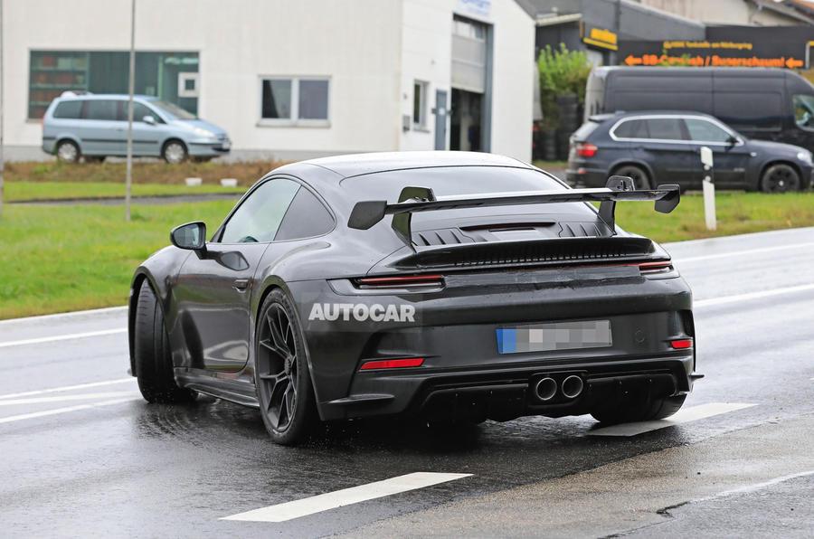 Porsche 911 GT3 prototype at Nurburgring - road side rear