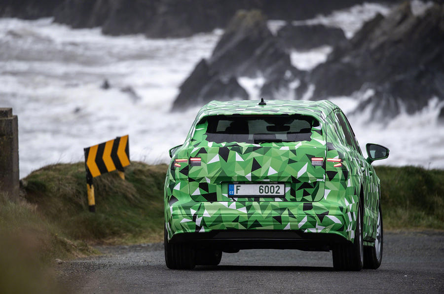 2020 Skoda Enyaq prototype first drive - on the road rear