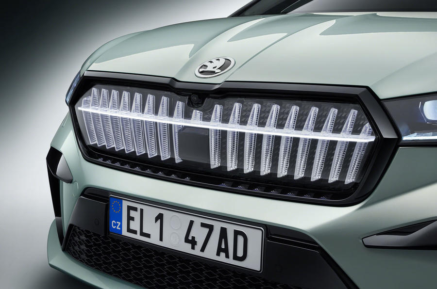 Skoda Enyaq official reveal images - studio front bumper