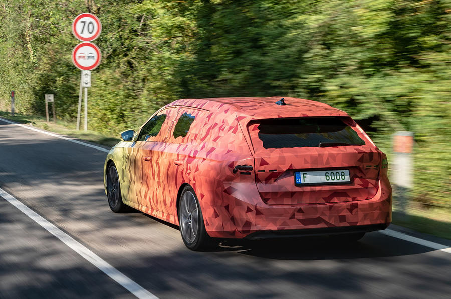 2020 Skoda Octavia prototype camouflaged drive - on the road rear