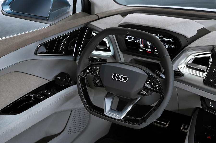 Audi Q4 E-tron electric SUV Geneva 2019 official press images - steering wheel