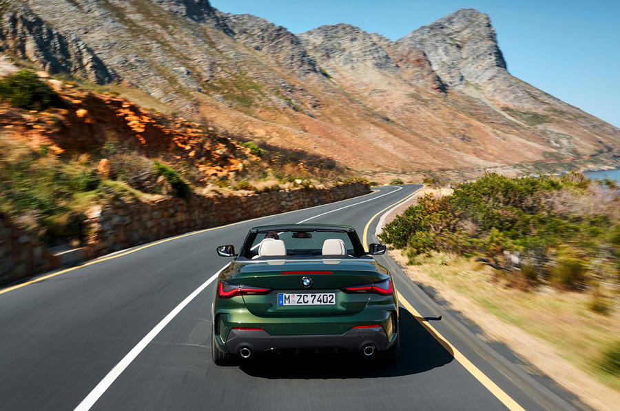 2021 BMW 4 Series Convertible official images - on the road rear