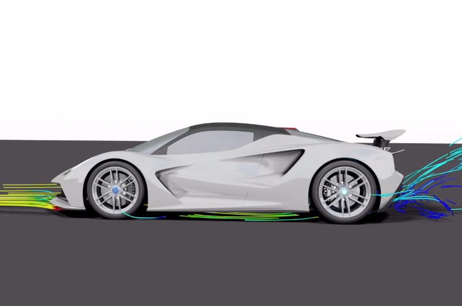 Lotus Evija aero blog - aero render side