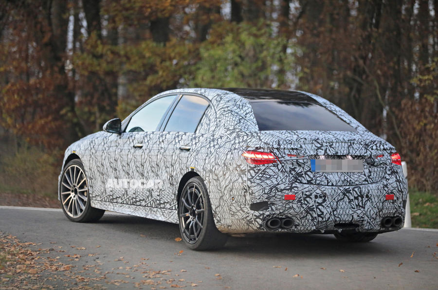Mercedes-AMG C53 2021 spy images - on the road rear