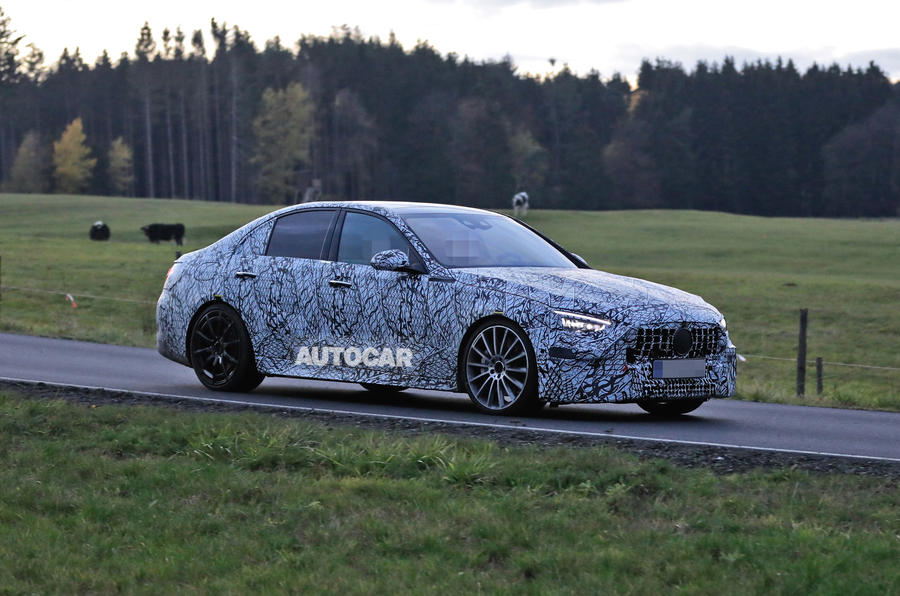 Mercedes-AMG C53 2021 spy images - on the road front