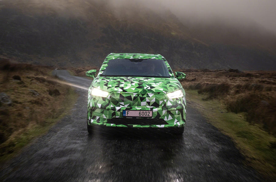 2020 Skoda Enyaq prototype first drive - on the road nose