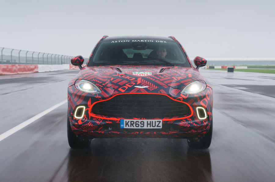2020 Aston Martin DBX camouflaged prototype ride - track nose