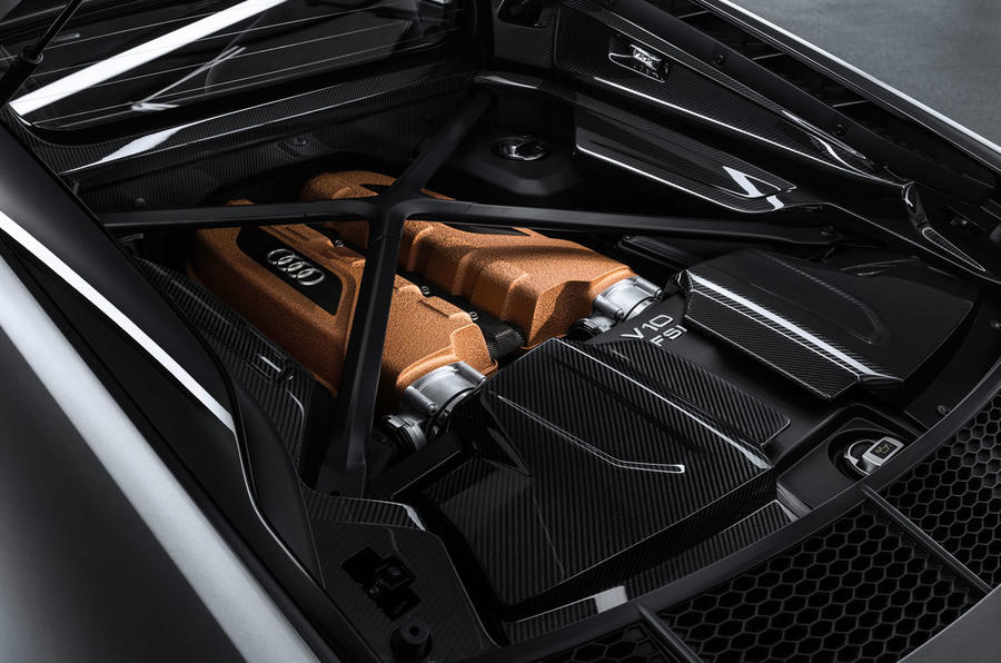 Audi R8 V10 Decennium official press images - engine cover