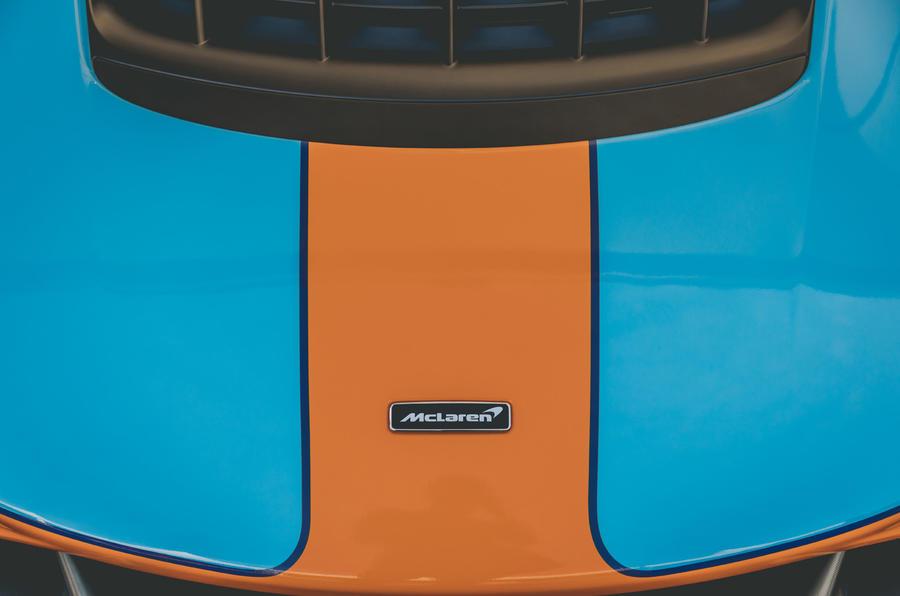 McLaren Elva Goodwood Speedweek reveal - nose badge