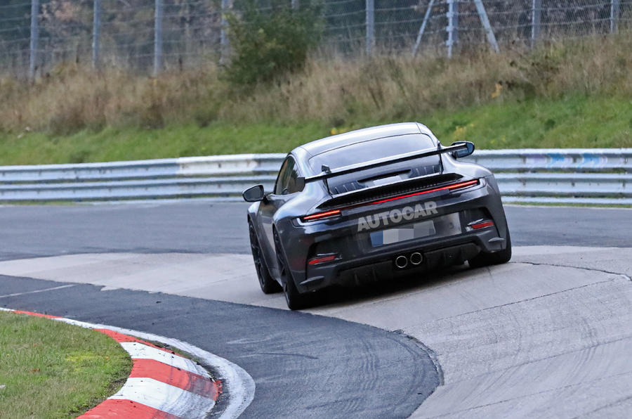 Porsche 911 GT3 prototype at Nurburgring - track rear