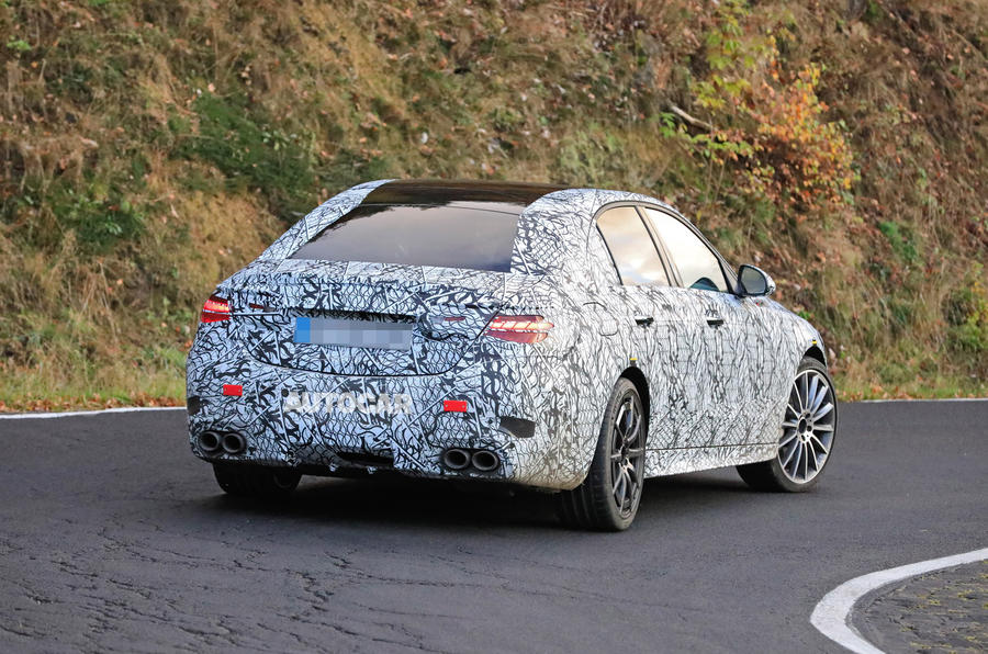 Mercedes-AMG C53 2021 spy images - tracking rear