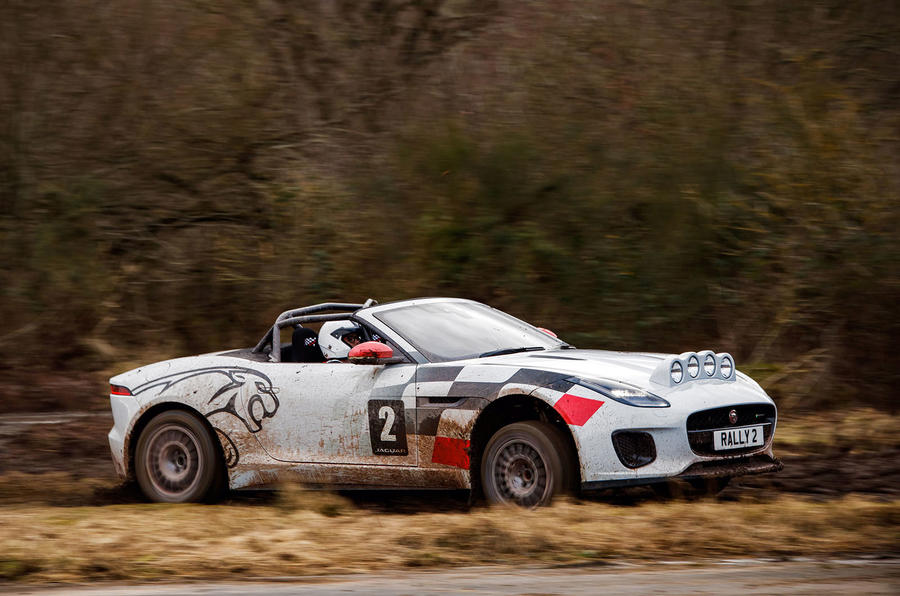 Jaguar F-Type rally car 2019 driven hero side
