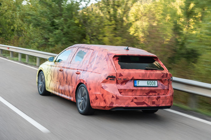 2020 Skoda Octavia prototype camouflaged drive - hero rear