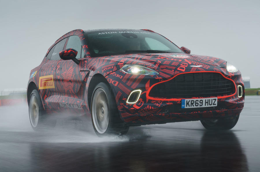 2020 Aston Martin DBX camouflaged prototype ride - hero front