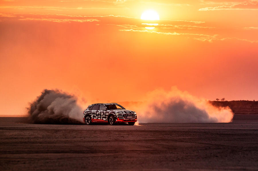 Audi e-Tron 2019 prototype first drive review - hero dust