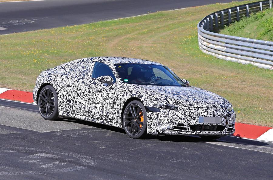 Audi E-tron GT camo track driving - front