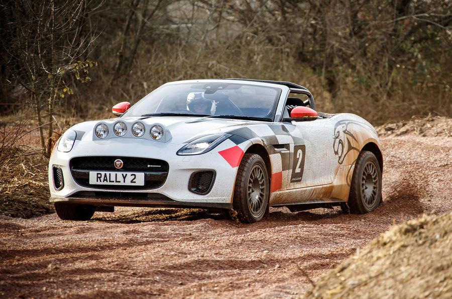 Jaguar F-Type rally car 2019 driven - hero front