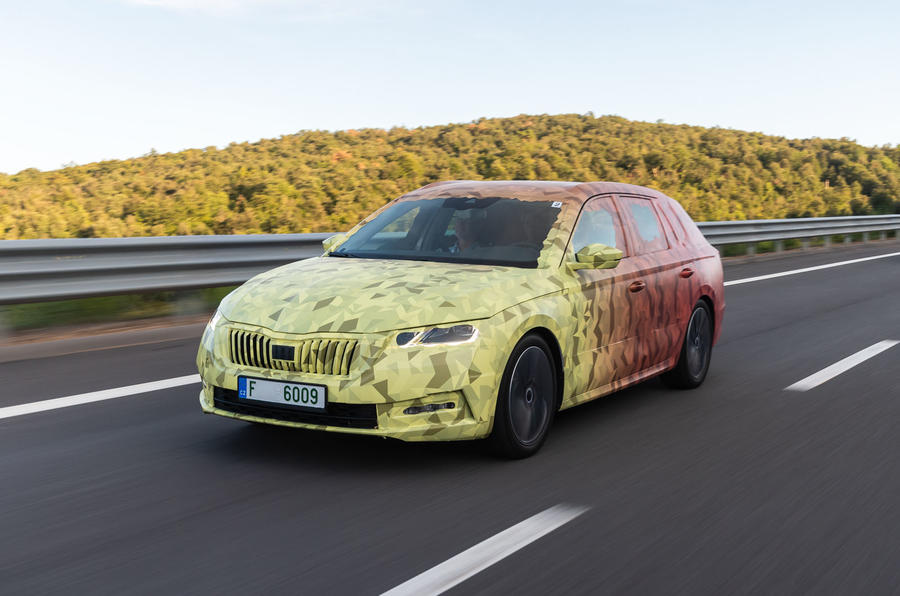 2020 Skoda Octavia prototype camouflaged drive - hero front