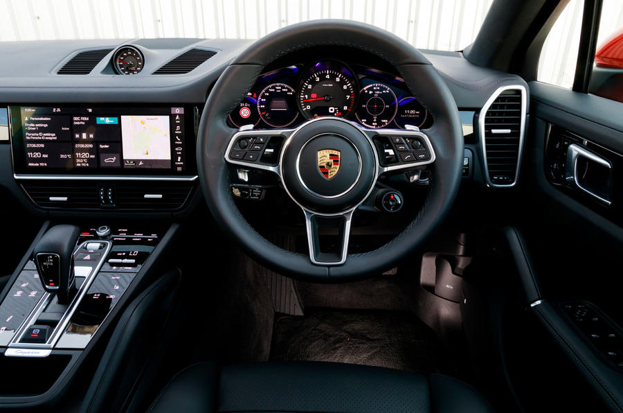 Porsche Cayenne Coupe 2019 UK review - steering wheel