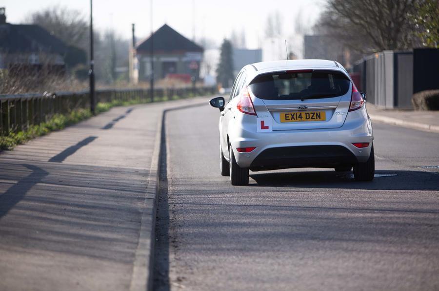 Ford Fiesta with learner sticker - rear