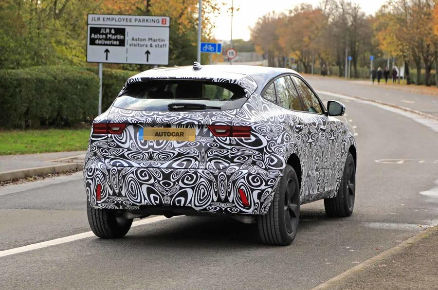 Jaguar E-Pace facelift spies rear