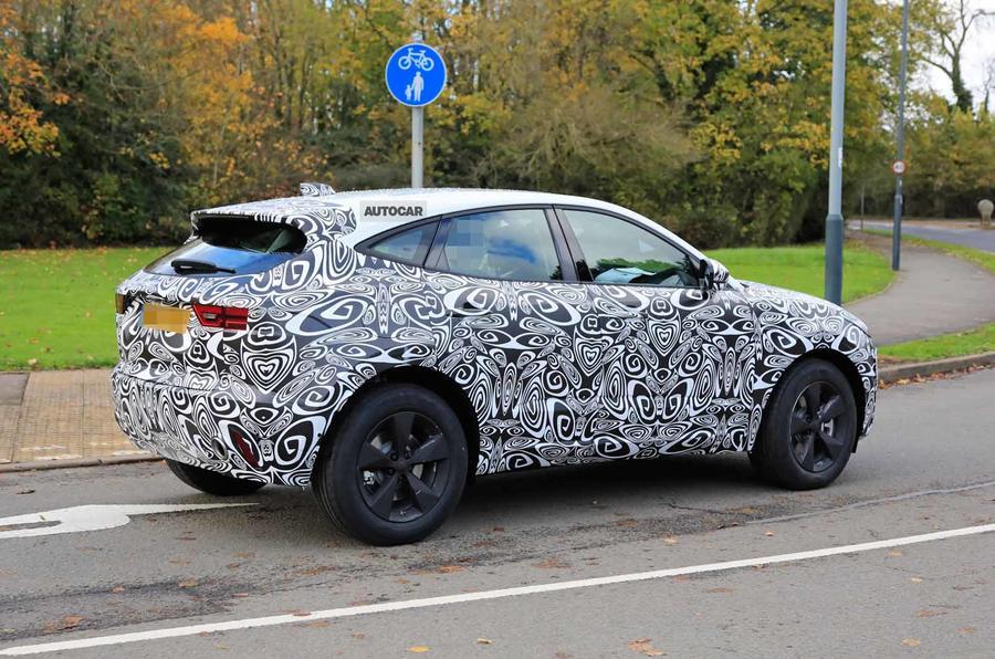 Jaguar E-Pace facelift spies rear 3/4