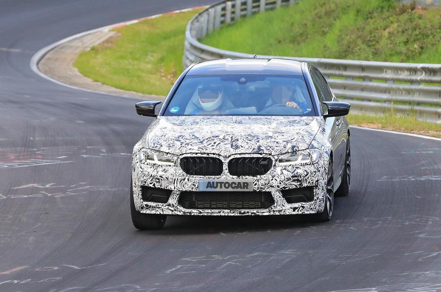 2021 BMW M5 CS prototype at Nurburgring - cornering front