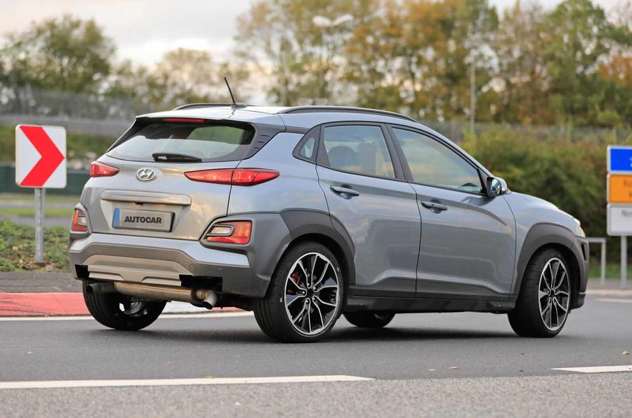 Hyundai Kona N spyshots side rear