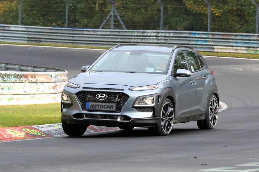 Hyundai Kona N spyshots front track