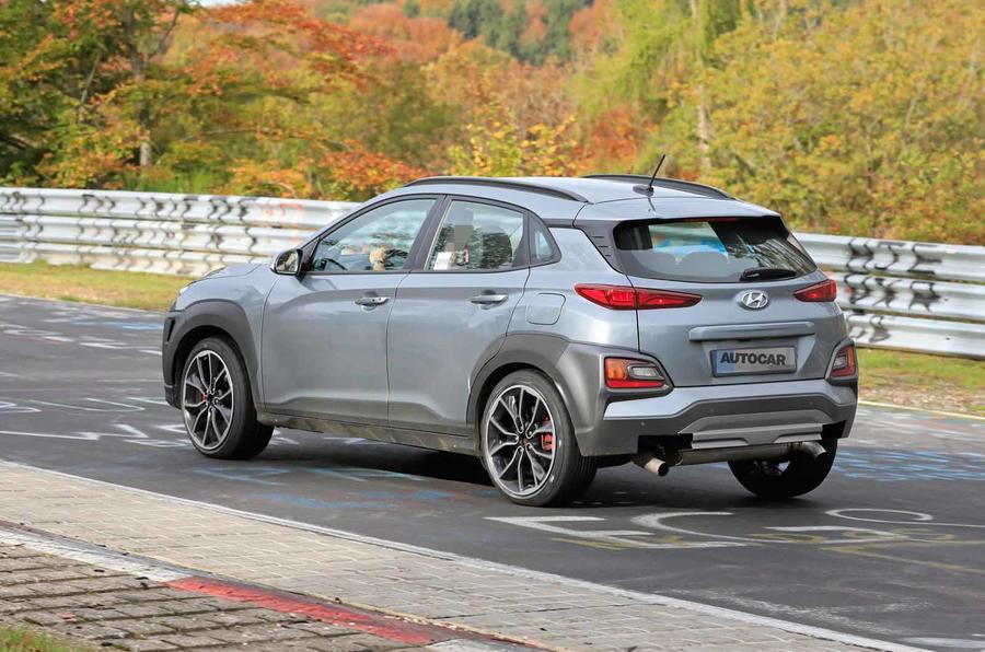 Hyundai Kona N spyshots rear side track