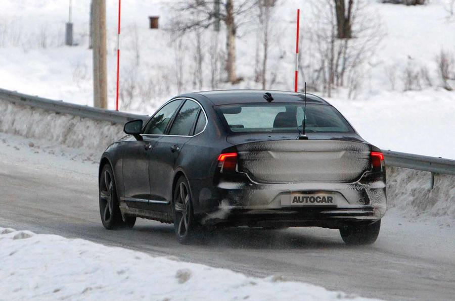 Volvo S90 facelift spyshots rear