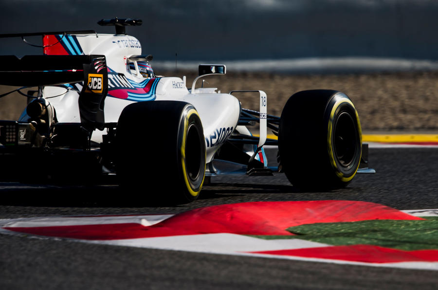 Lance Stroll in the Williams FW40 during Barcelona testing