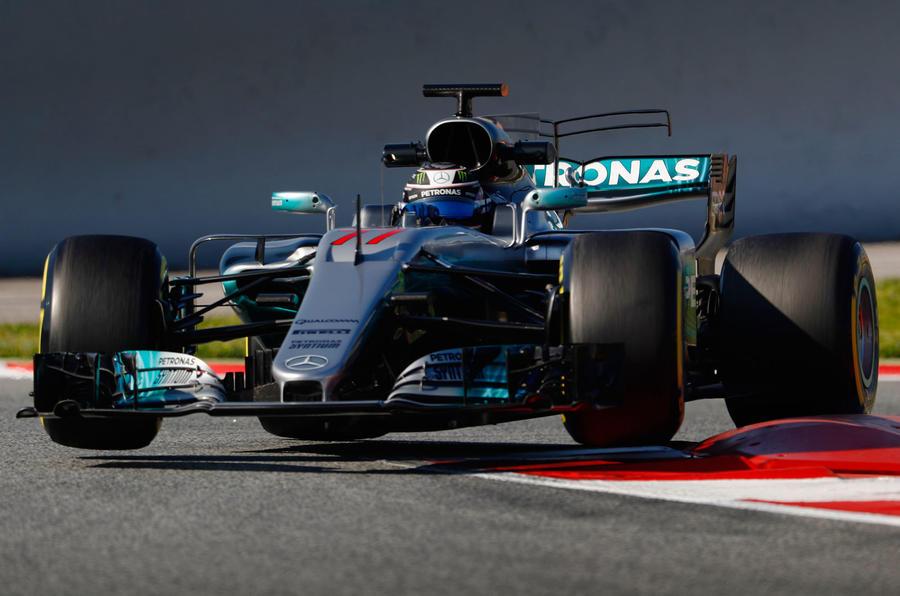 Valtteri Bottas in the Mercedes W08 during pre-season testing